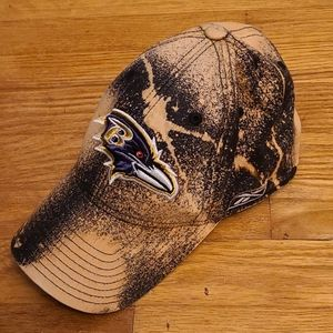 Custom DIY bleach-dyed Baltimore Ravens fitted hat